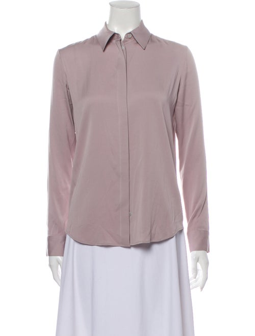 The Row Silk Long Sleeve Button-Up Top Purple