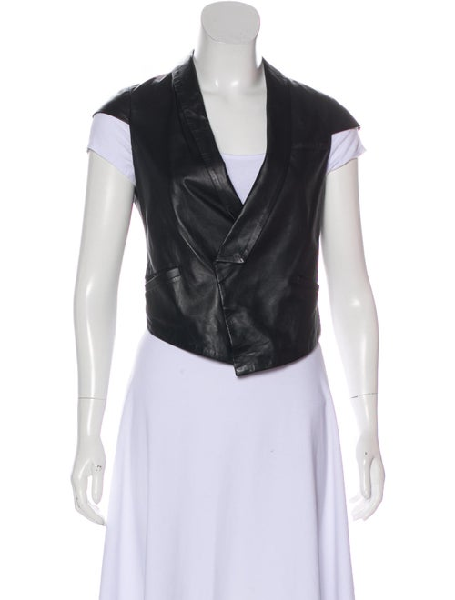 Thurley Leather Cropped Vest Black