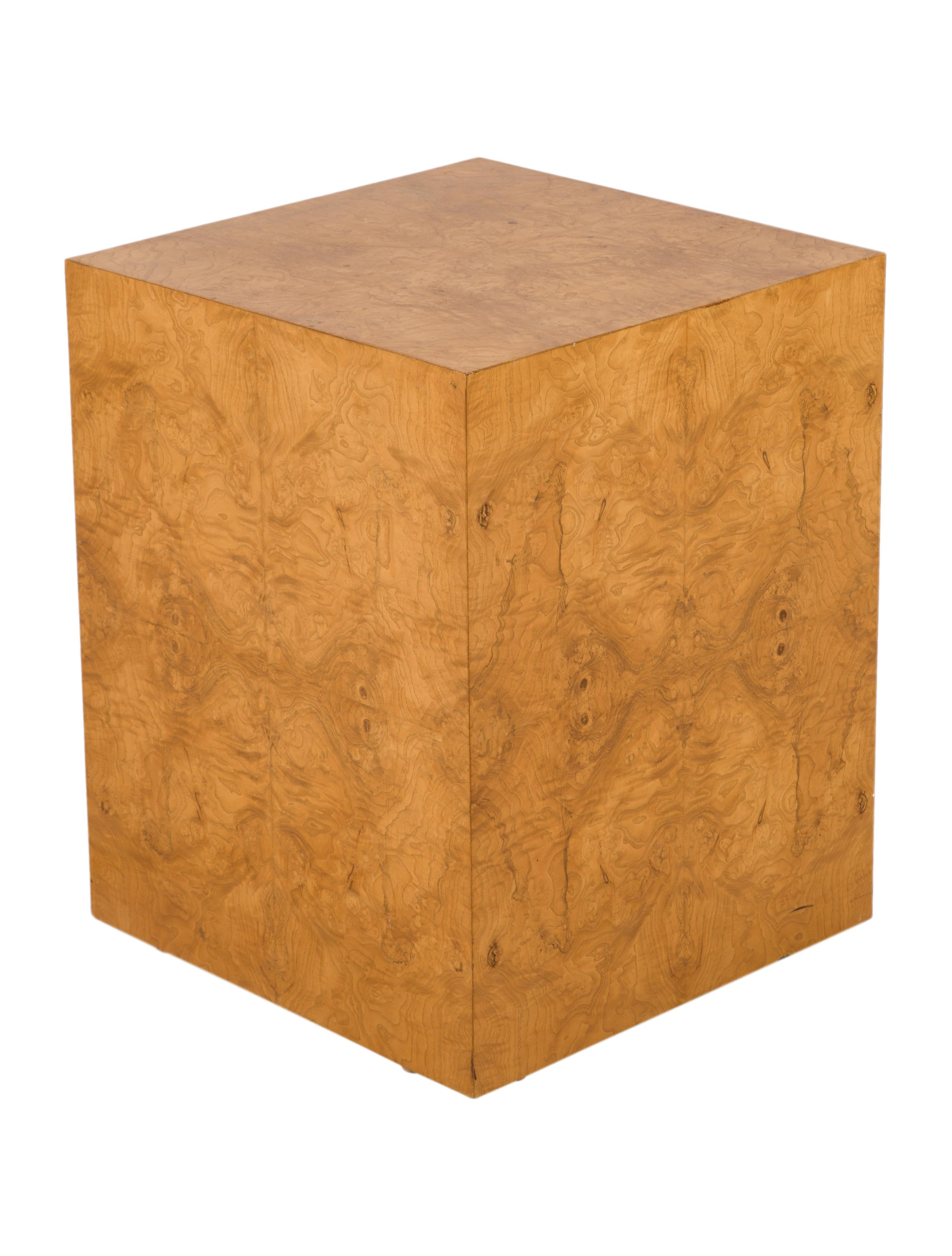 Pair Of Thayer Coggin Burl Wood Cube End Tables