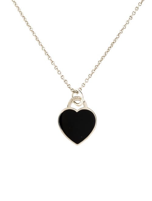06b4fd852ac10 Tiffany & Co. Small Return to Tiffany Black Enamel Heart Tag Pendant ...