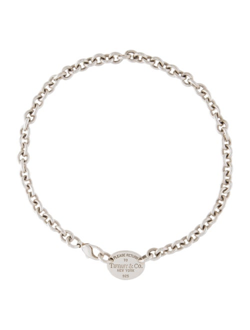 Tiffany & Co. Return to Tiffany Oval Tag Choker Si