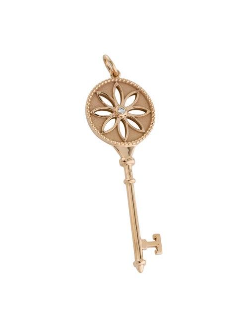 Tiffany & Co. 18K Diamond Daisy Key Pendant Rose