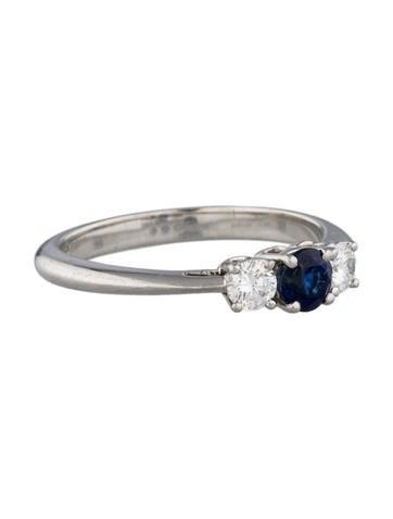 Sapphire & Diamond Three-Stone Ring