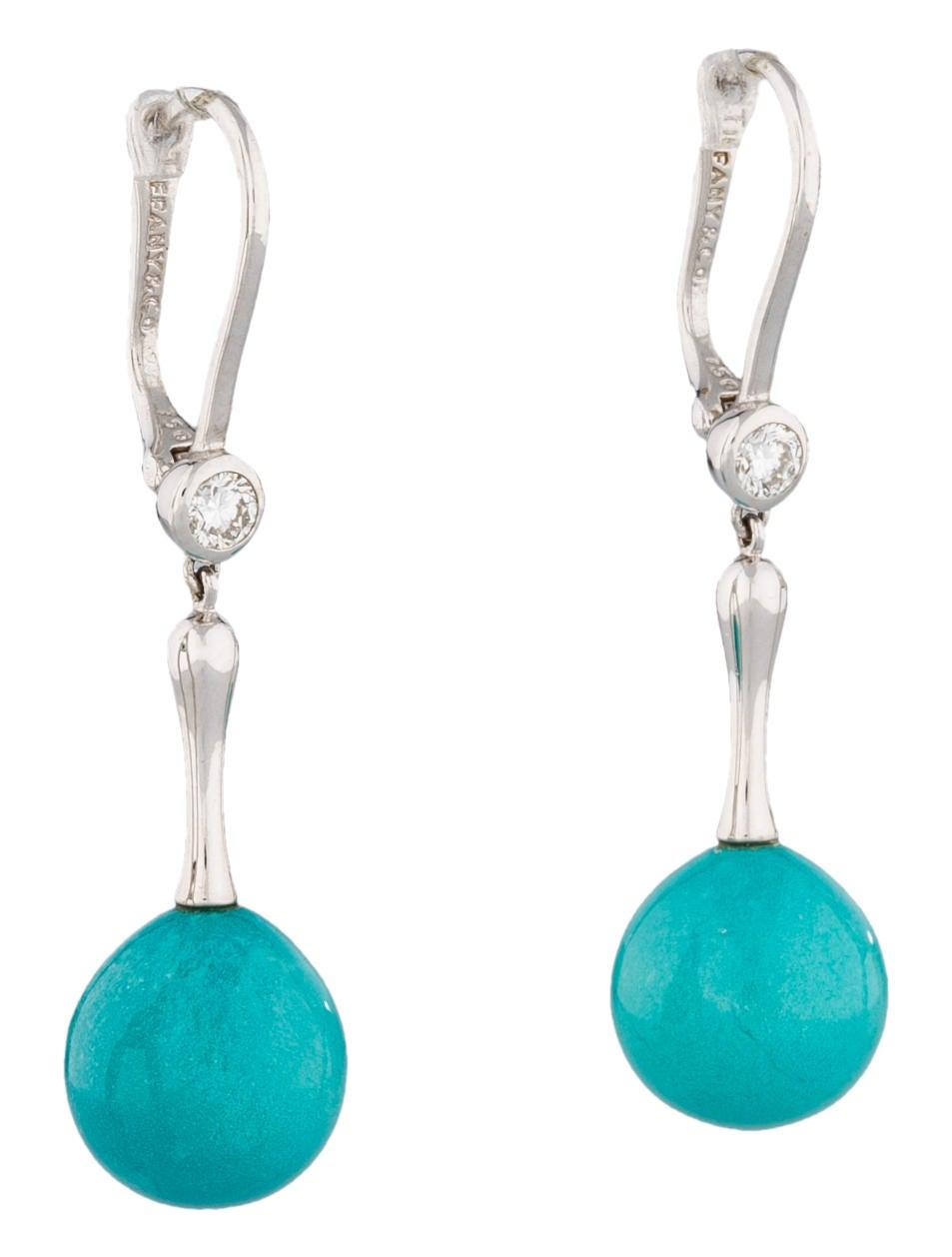 Turquoise And Diamond Drop Earrings