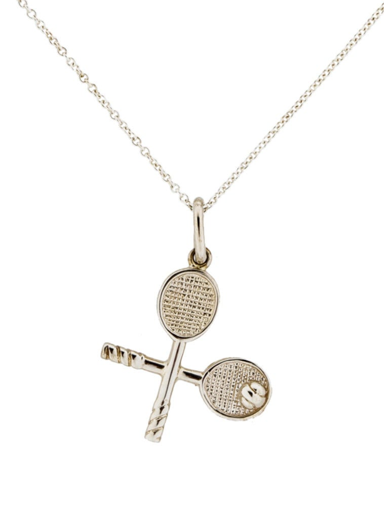 Tiffany co tennis racquet charm necklace necklaces tif23642 tennis racquet charm necklace aloadofball Images