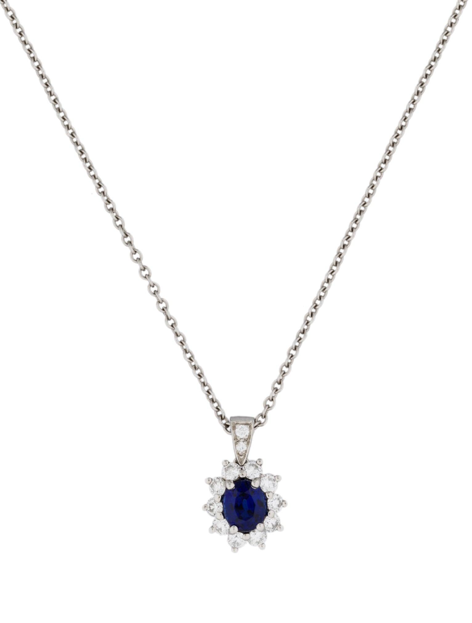 Tiffany & Co 1 17ct Sapphire & Diamond Halo Pendant Necklaces