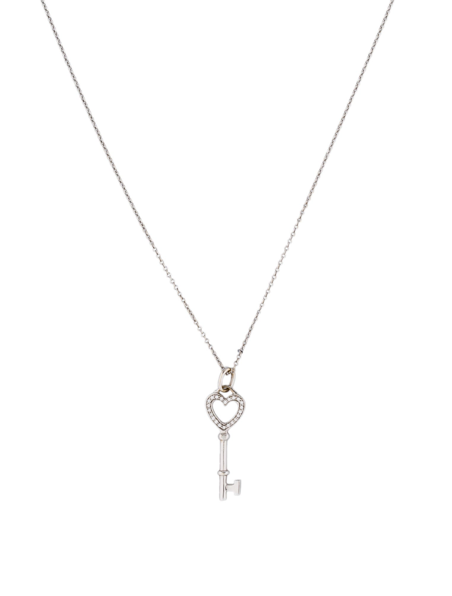 Tiffany co diamond heart key pendant necklace necklaces diamond heart key pendant necklace mozeypictures Image collections