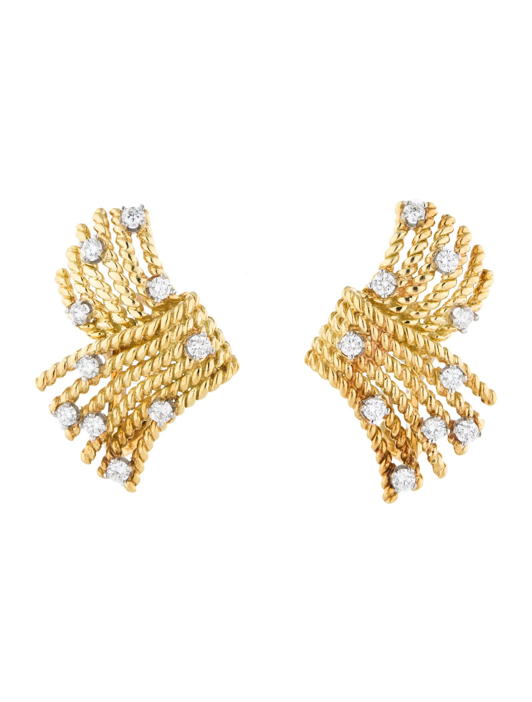 Tiffany & Co Schlumberger V Rope Diamond Earrings Earrings