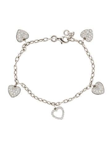 Platinum Diamond Heart Bracelet