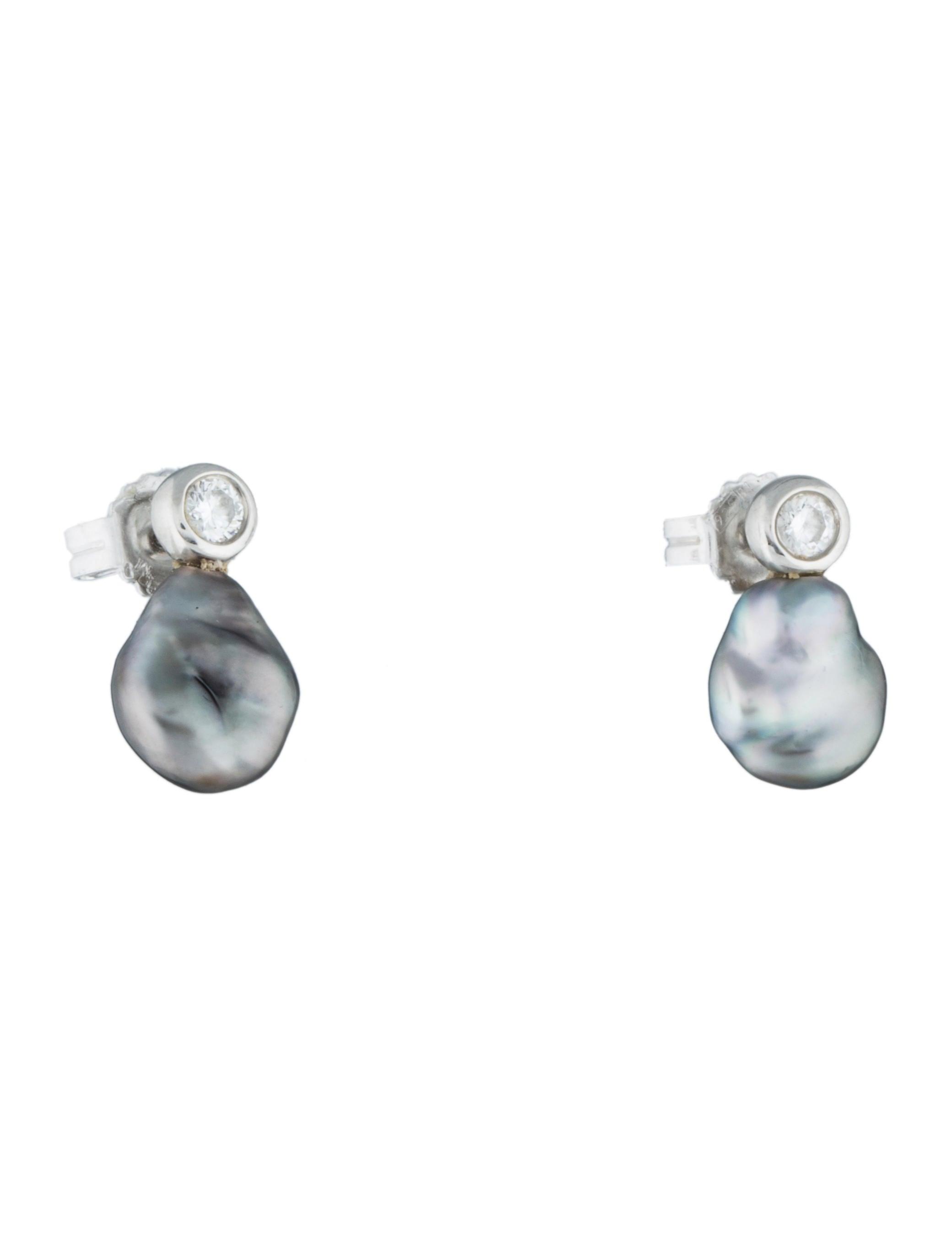 Tiffany & Co Keshi Pearl & Diamond Earrings Earrings TIF
