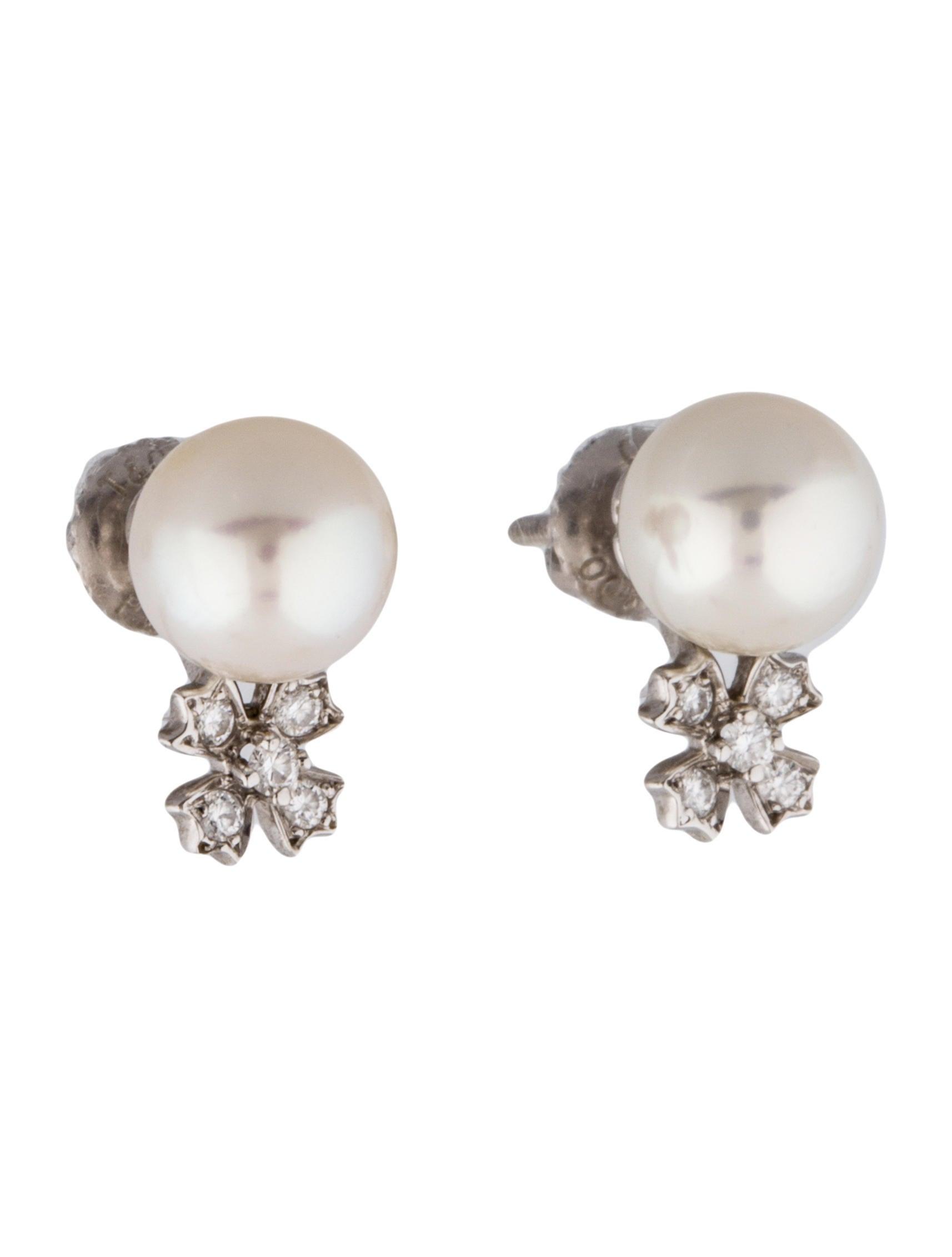 Tiffany & Co Platinum Akoya Pearl and Diamond Stud Earrings