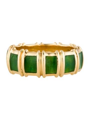 Tiffany Amp Co 18k And Green Enamel Ring Rings Tif32444