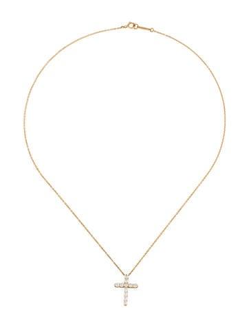 18K Diamond Cross Pendant Necklace