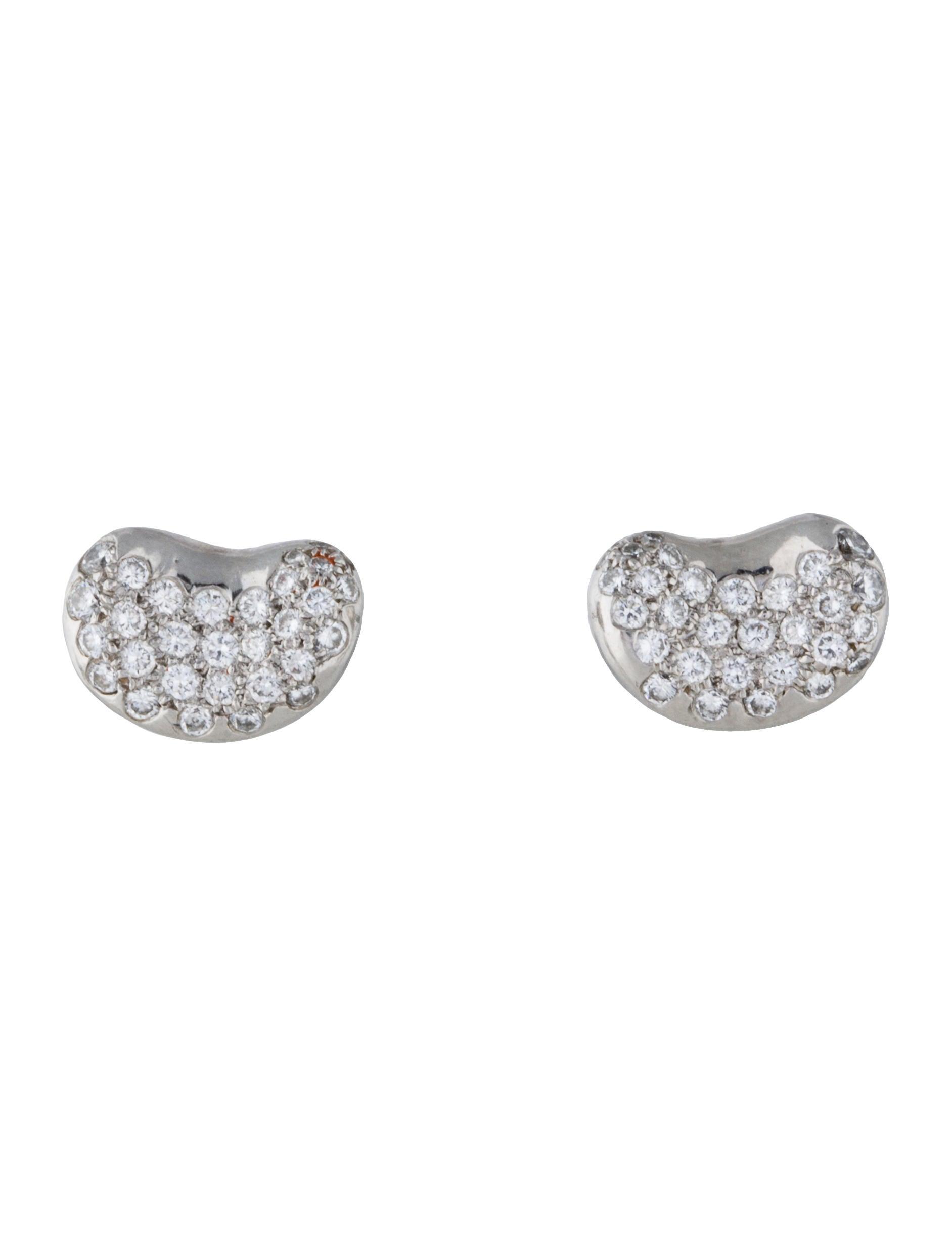 Platinum Diamond Bean Earrings