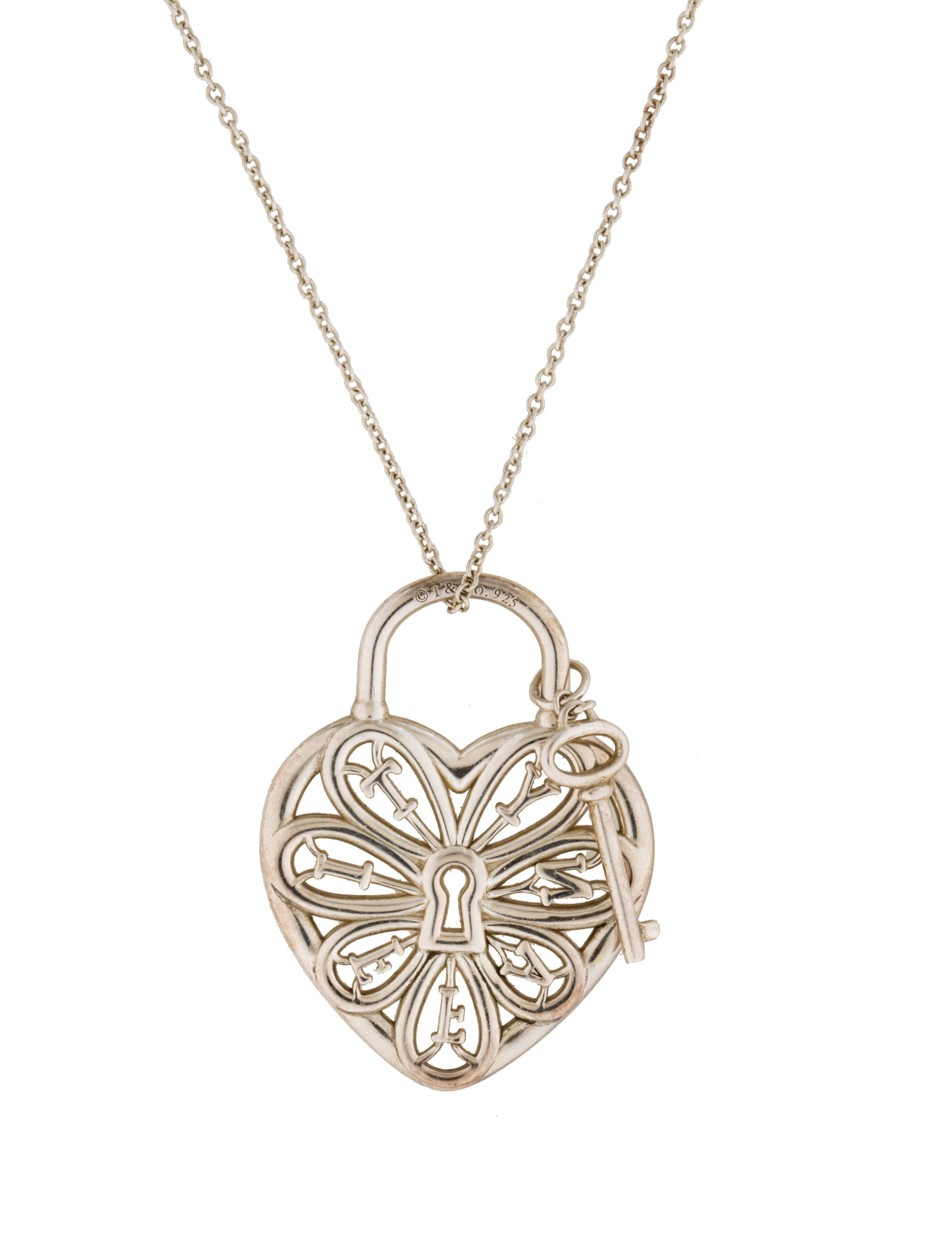 Beautiful tiffany filigree heart necklace with key jewellrys tiffany co filigree heart lock key pendant necklace aloadofball Choice Image