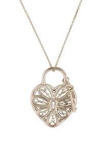 Tiffany Co Filigree Heart Lock Key Pendant Necklace Necklaces Tif40657 The Realreal