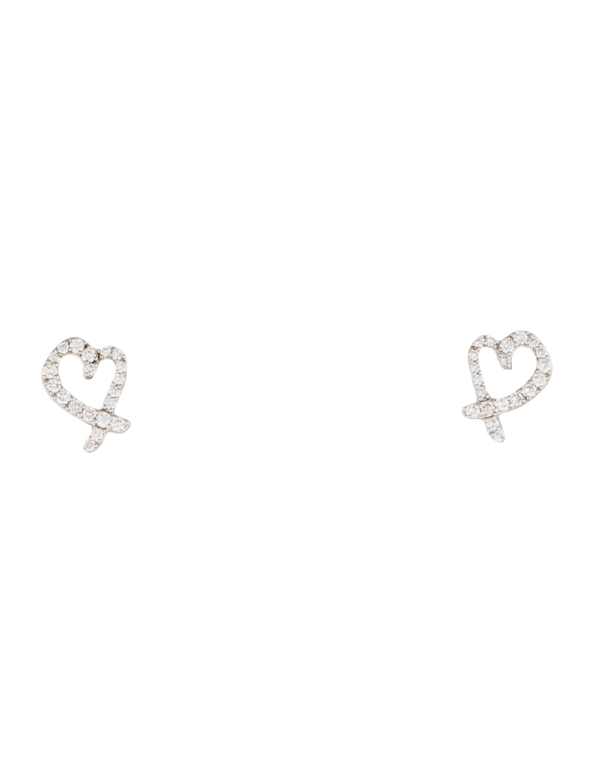Tiffany & Co 18K Diamond Loving Heart Earrings Earrings