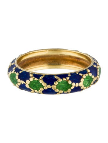 18K Blue & Green Enamel Ring