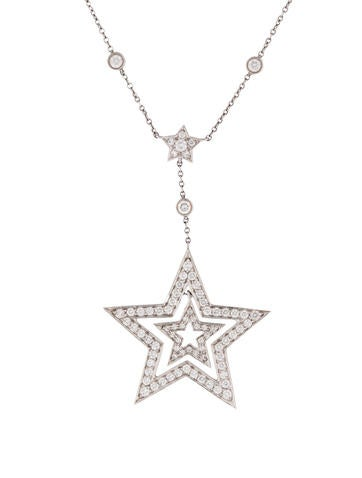 Tiffany & Co. Platinum & Diamond Star Pendant Necklace