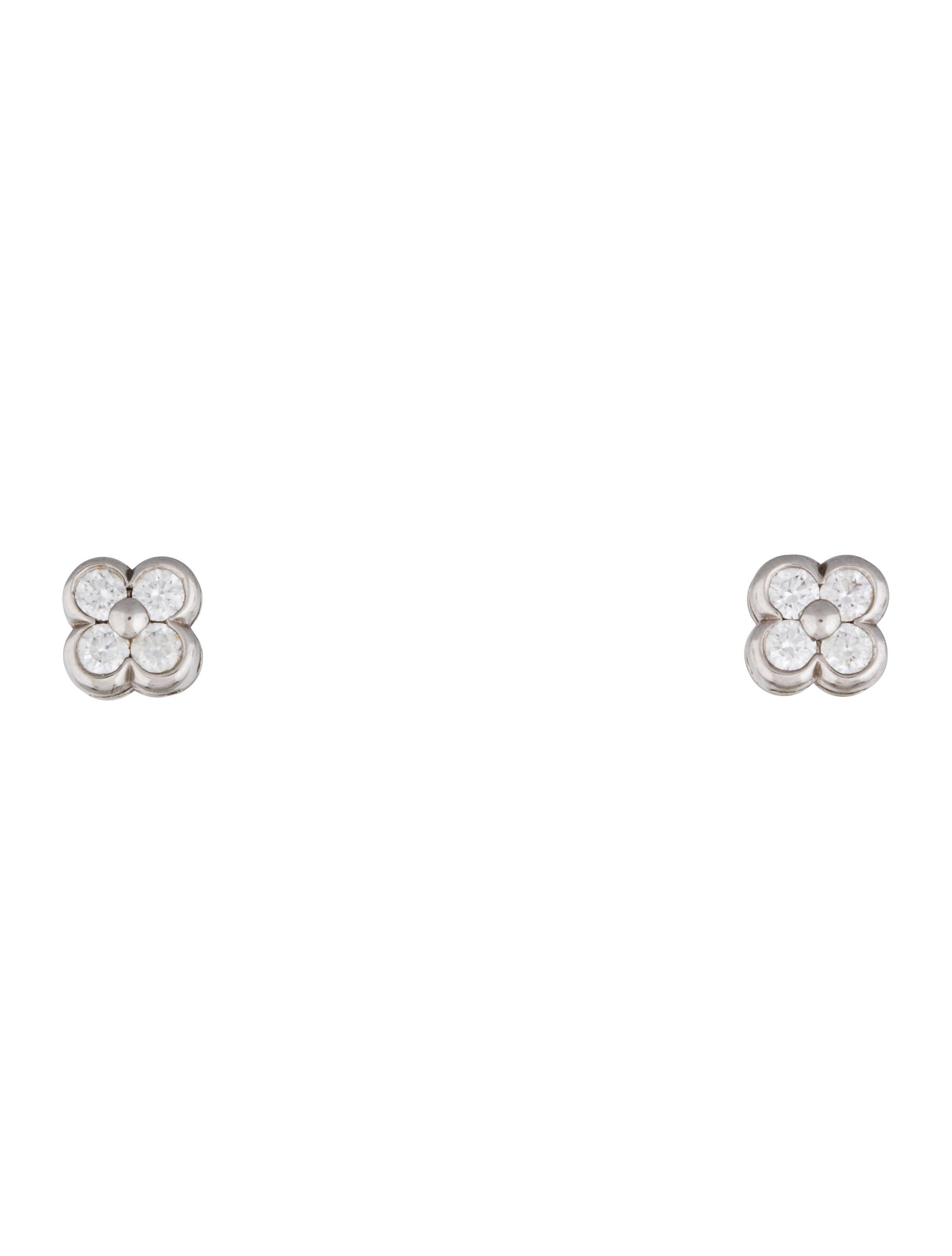 Tiffany & Co Platinum Four Diamond Cluster Earrings Earrings