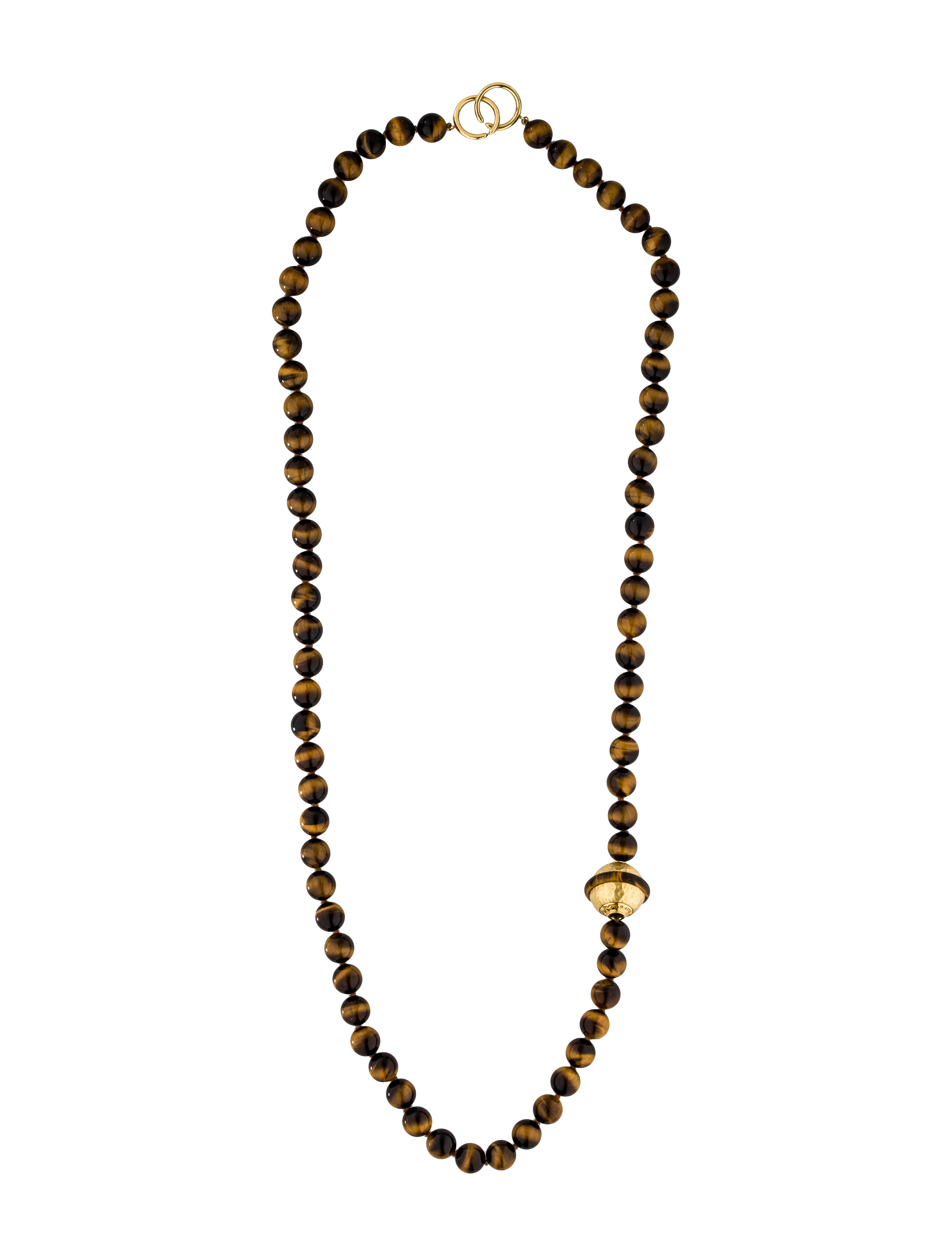 co 18k tiger s eye bead necklace necklaces