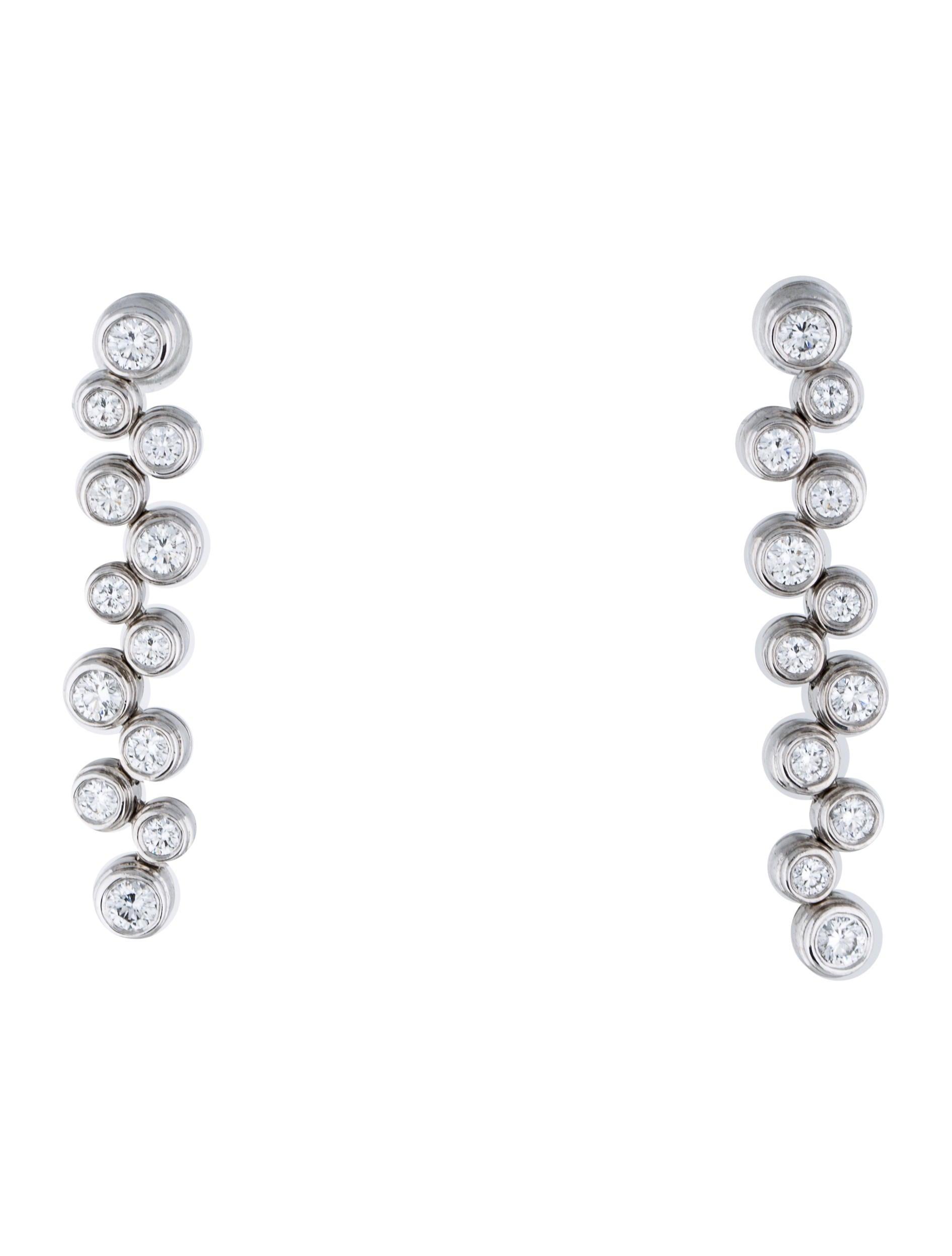 Tiffany & Co Platinum Diamond Bubble Drop Earrings Earrings