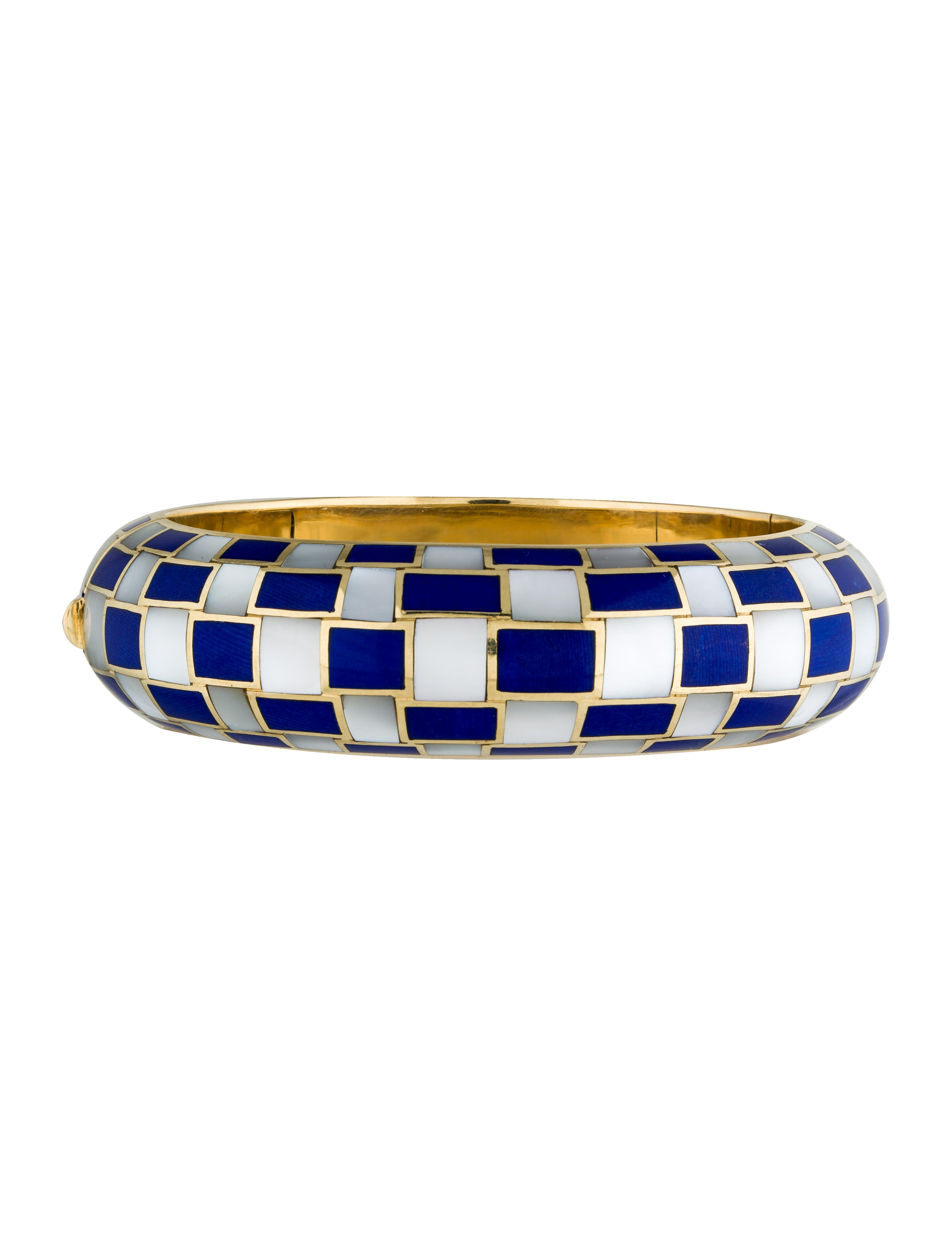 19c6adf9b Tiffany & Co. 18K Mother of Pearl & Dyed Blue Coral Checkerboard ...