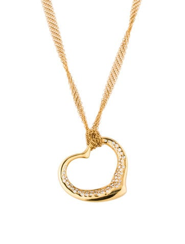 Tiffany & Co. 18K Diamond Open Heart Pendant Necklace