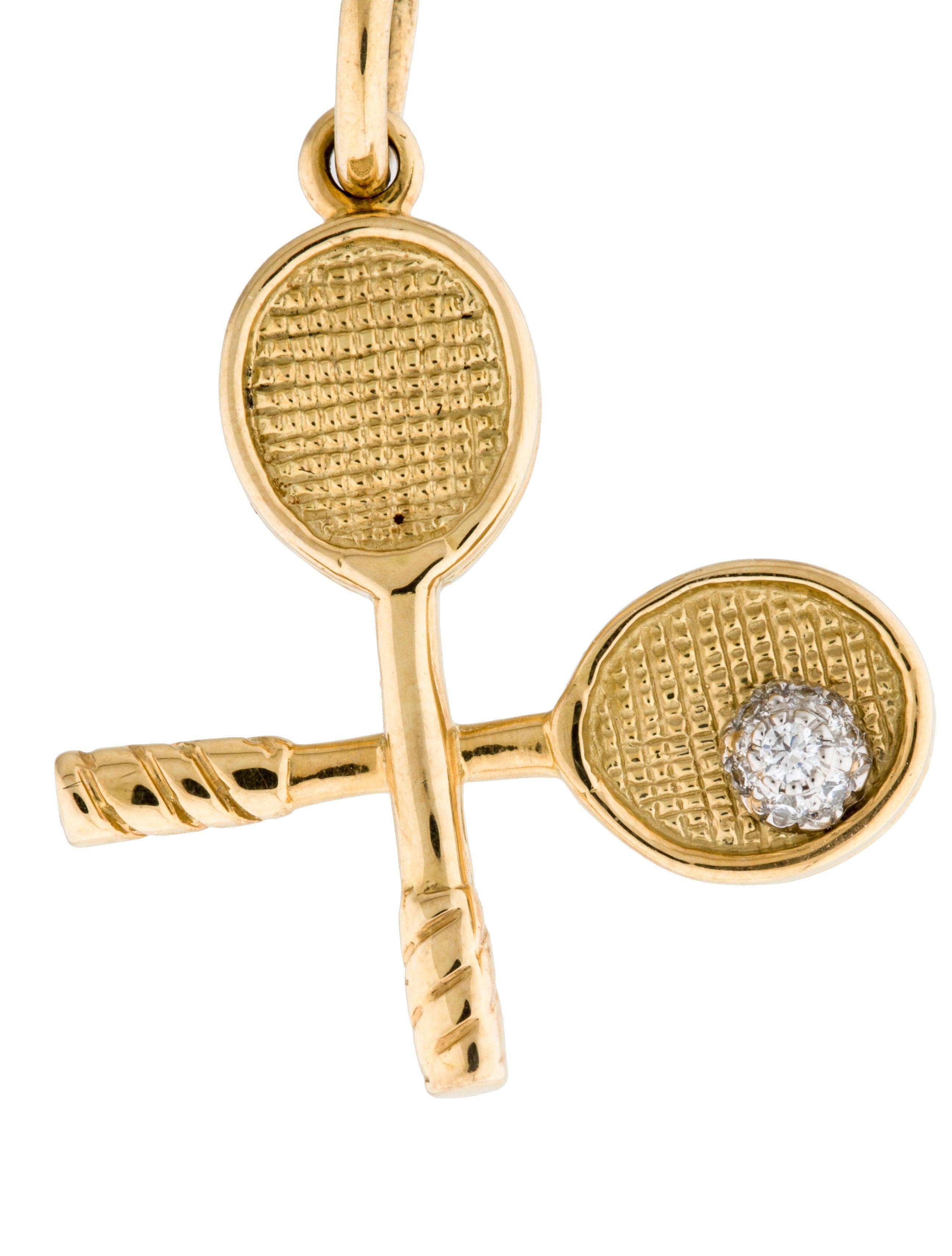 Tiffany co diamond tennis racquet charm charms tif48789 diamond tennis racquet charm aloadofball Images