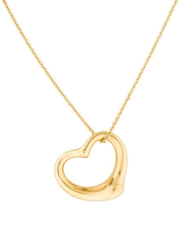 Tiffany & Co. 18K Large Open Heart Pendant Necklace