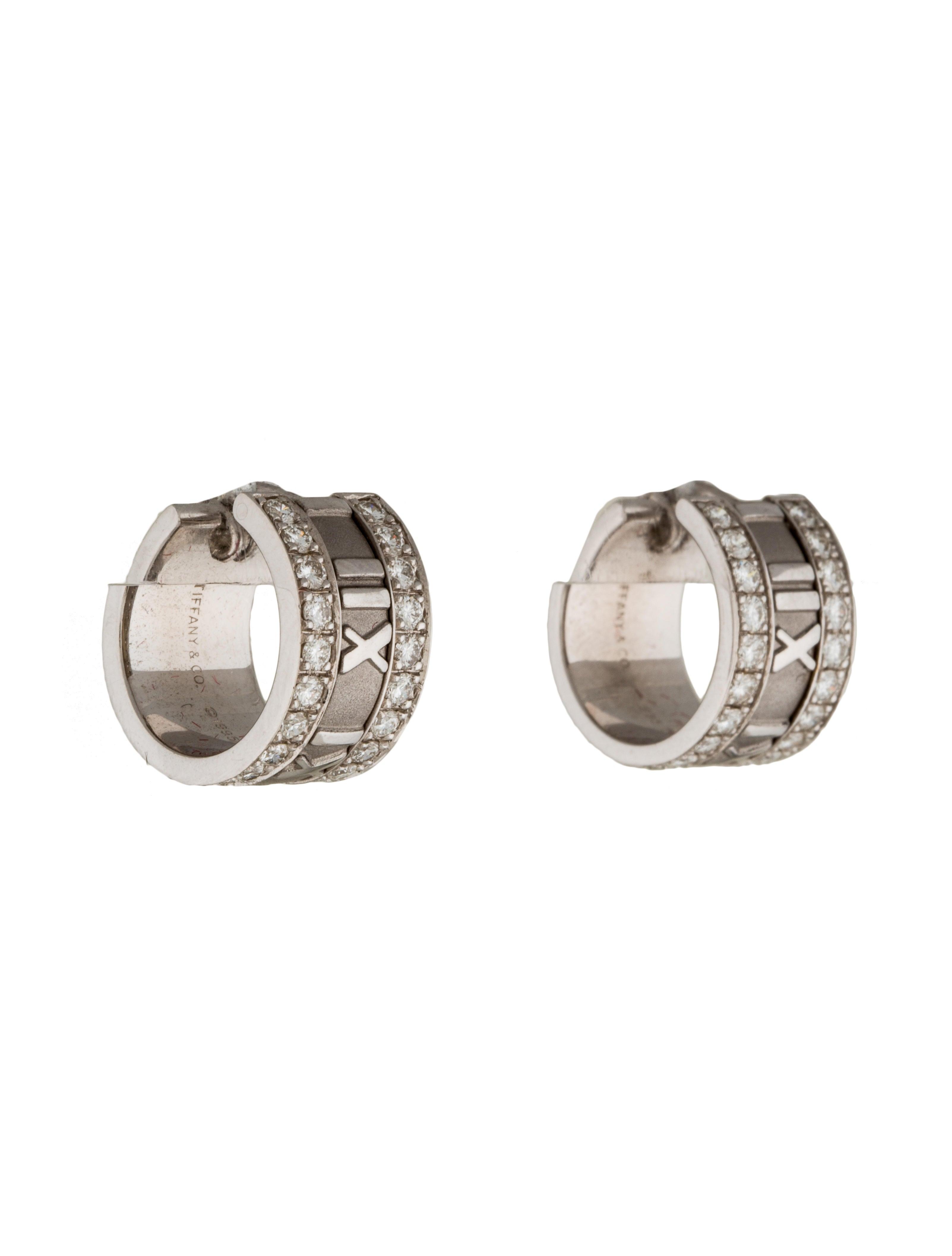 Tiffany & Co 18K Diamond Atlas Hoop Earrings Earrings