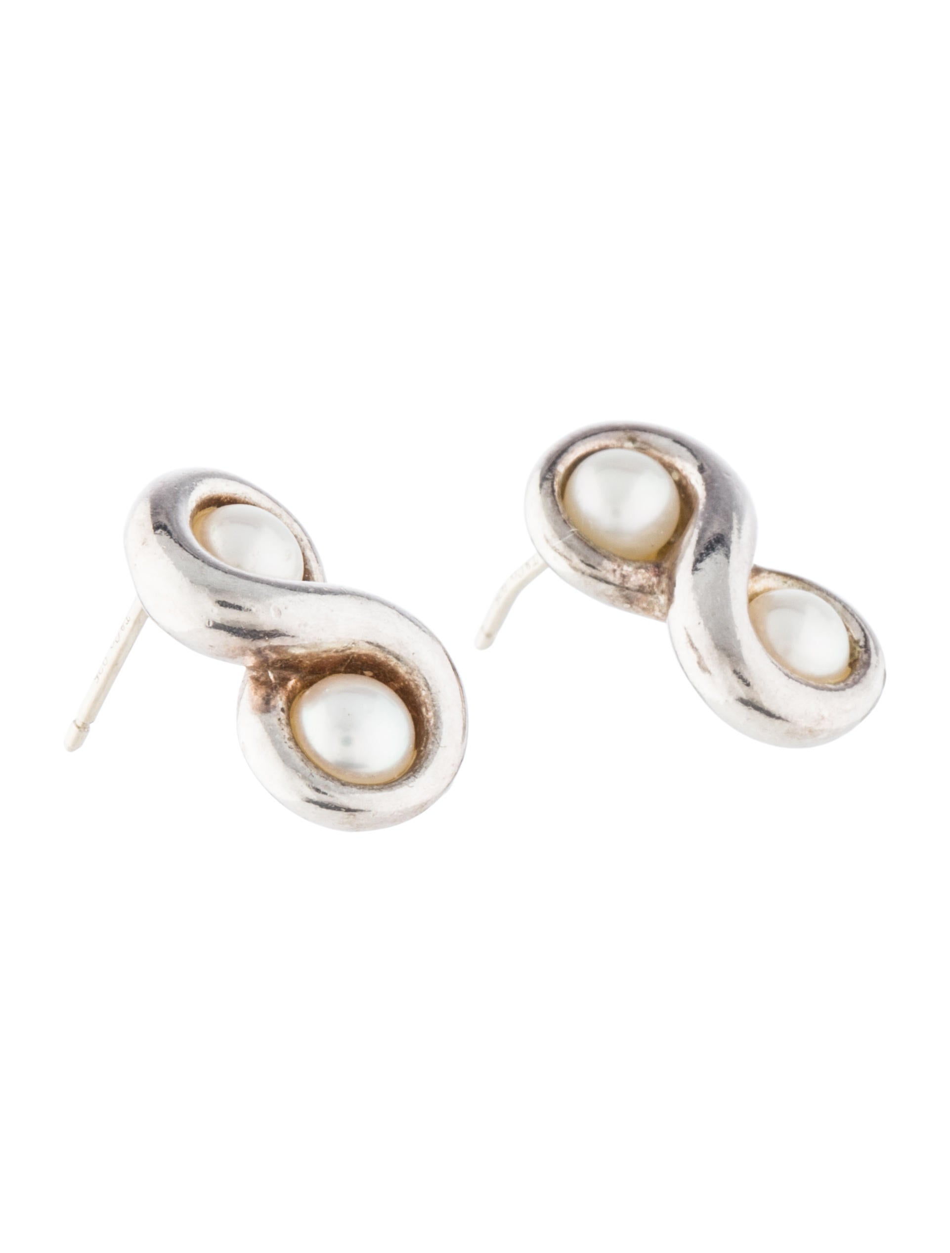 pearl and shop white stud earrings silver buy claudia bradby real duo