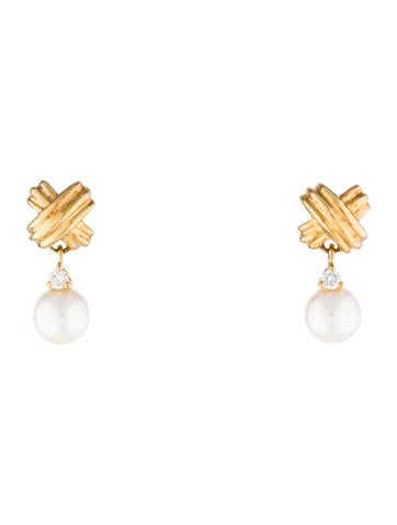 Tiffany & Co. Signature Pearl X Drop Earrings