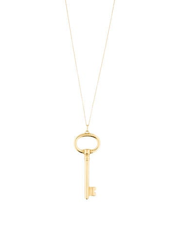 Tiffany & Co. 18K Large Oval Key Pendant Necklace