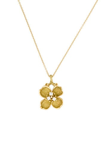 Tiffany & Co. Diamond Dogwood Pendant Necklace
