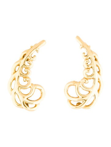 Tiffany & Co. 18K Feather Motif Earrings