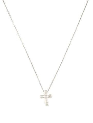 tiffany co platinum diamond small cross pendant. Black Bedroom Furniture Sets. Home Design Ideas