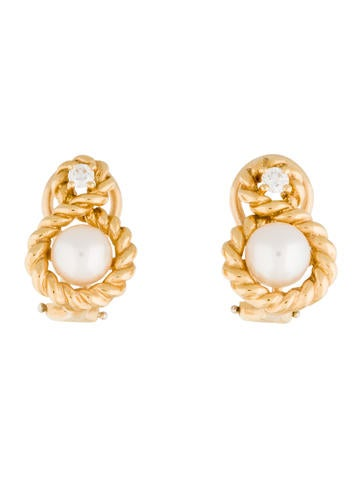 Tiffany & Co. 18K Pearl & Diamond Cable Twist Earrings