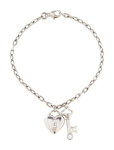 Tiffany & Co. Diamond Accent Heart & Key Charm Bracelet