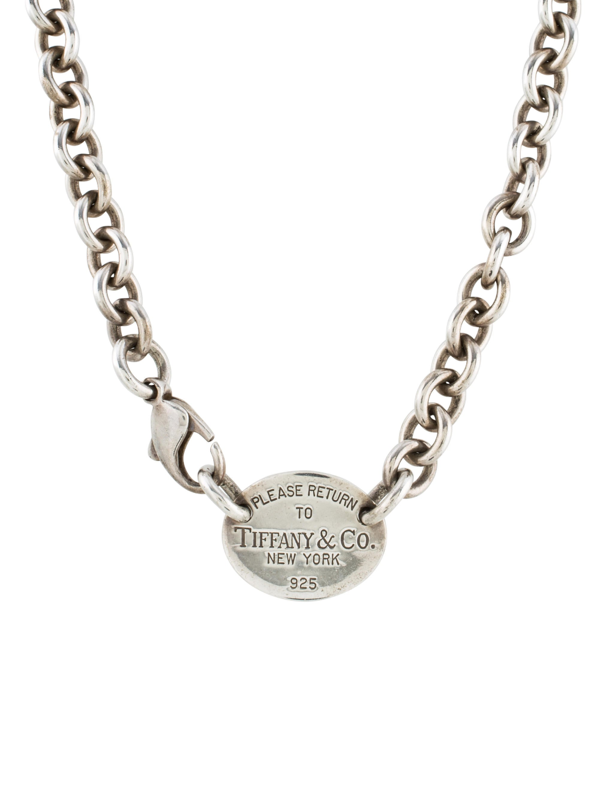 co return to oval tag necklace