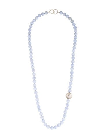 co blue lace agate bead necklace necklaces