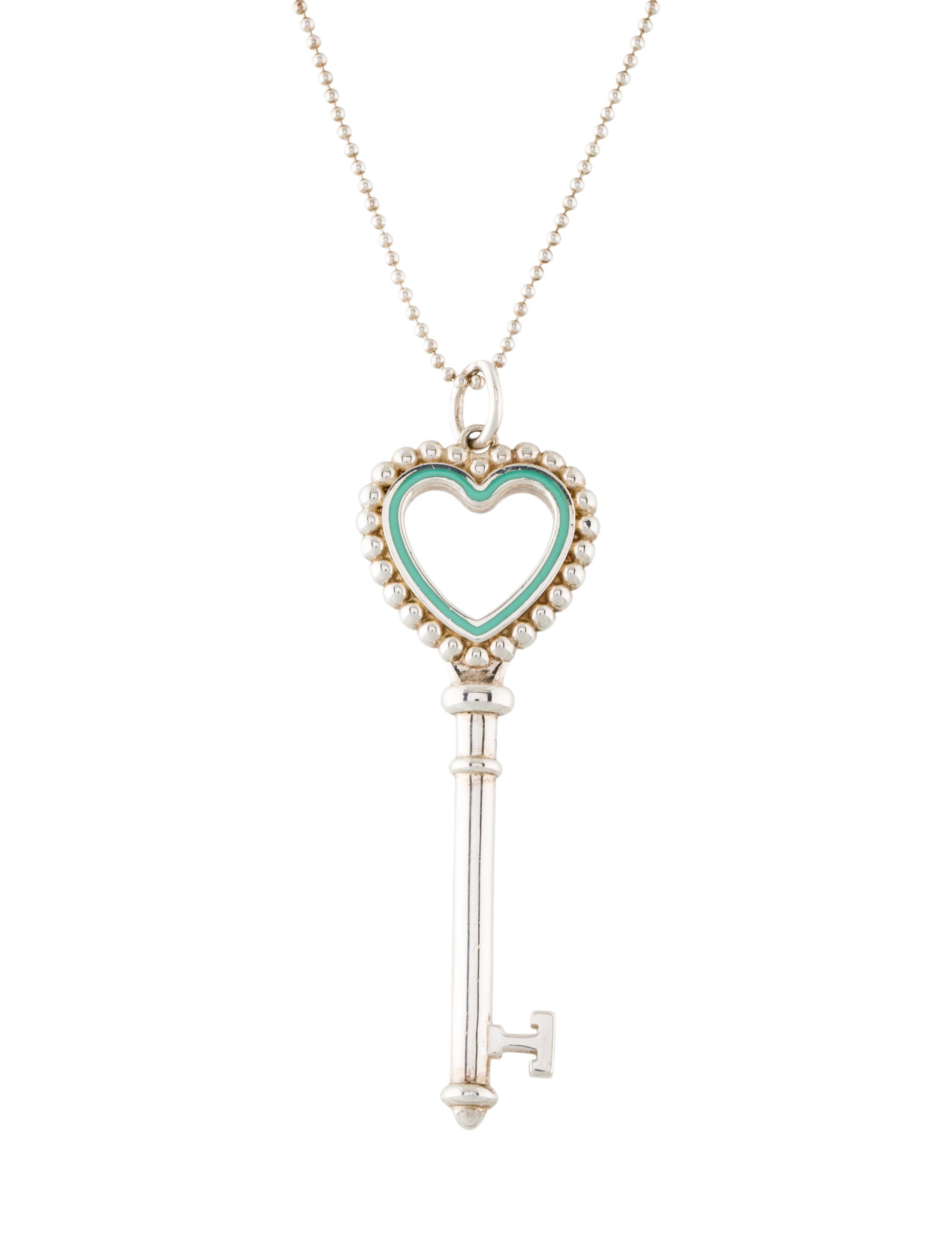 Tiffany co beaded heart key pendant necklace necklaces beaded heart key pendant necklace aloadofball Gallery