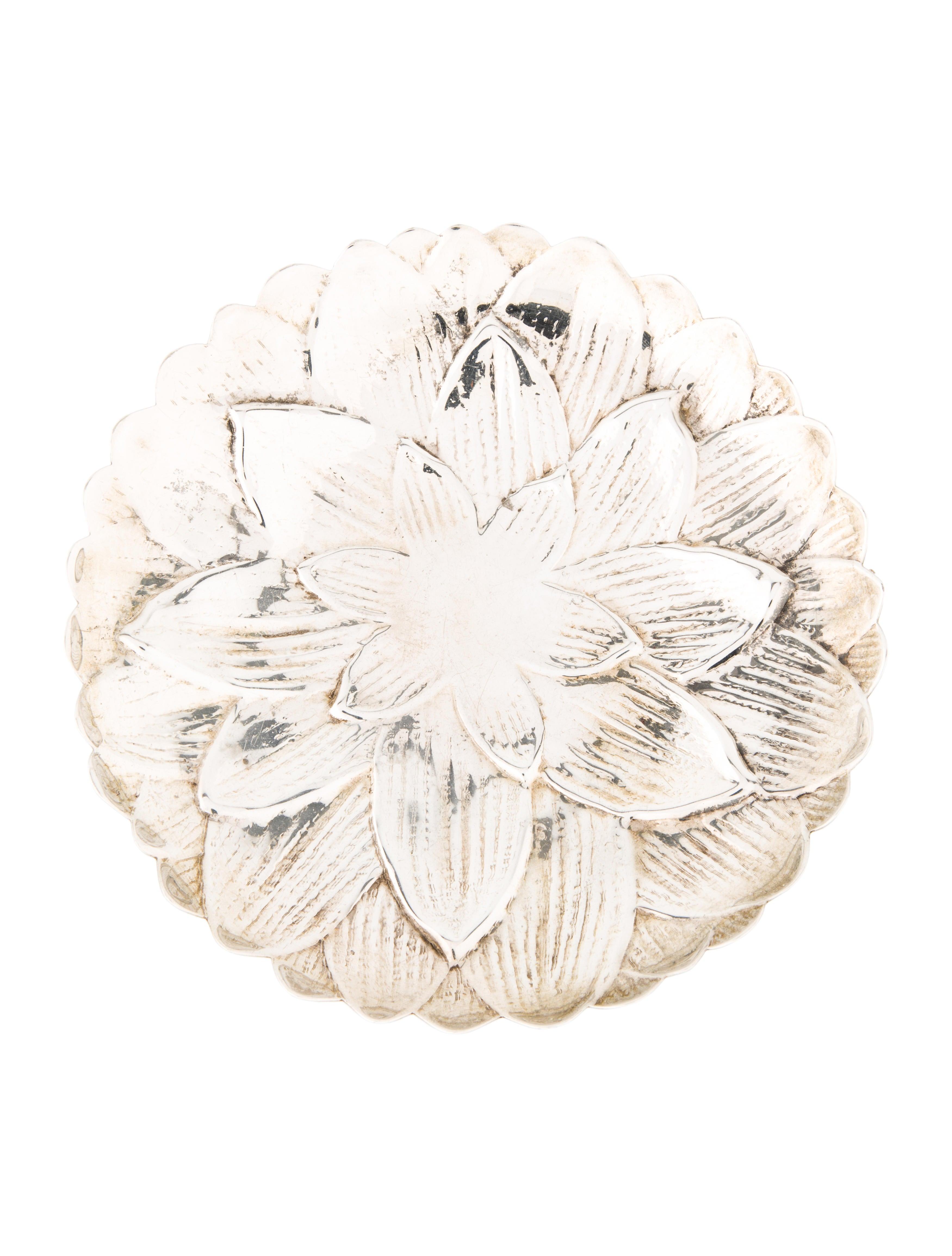 Tiffany co sterling silver dahlia dish decor and for Artistic accents genuine silver decoration