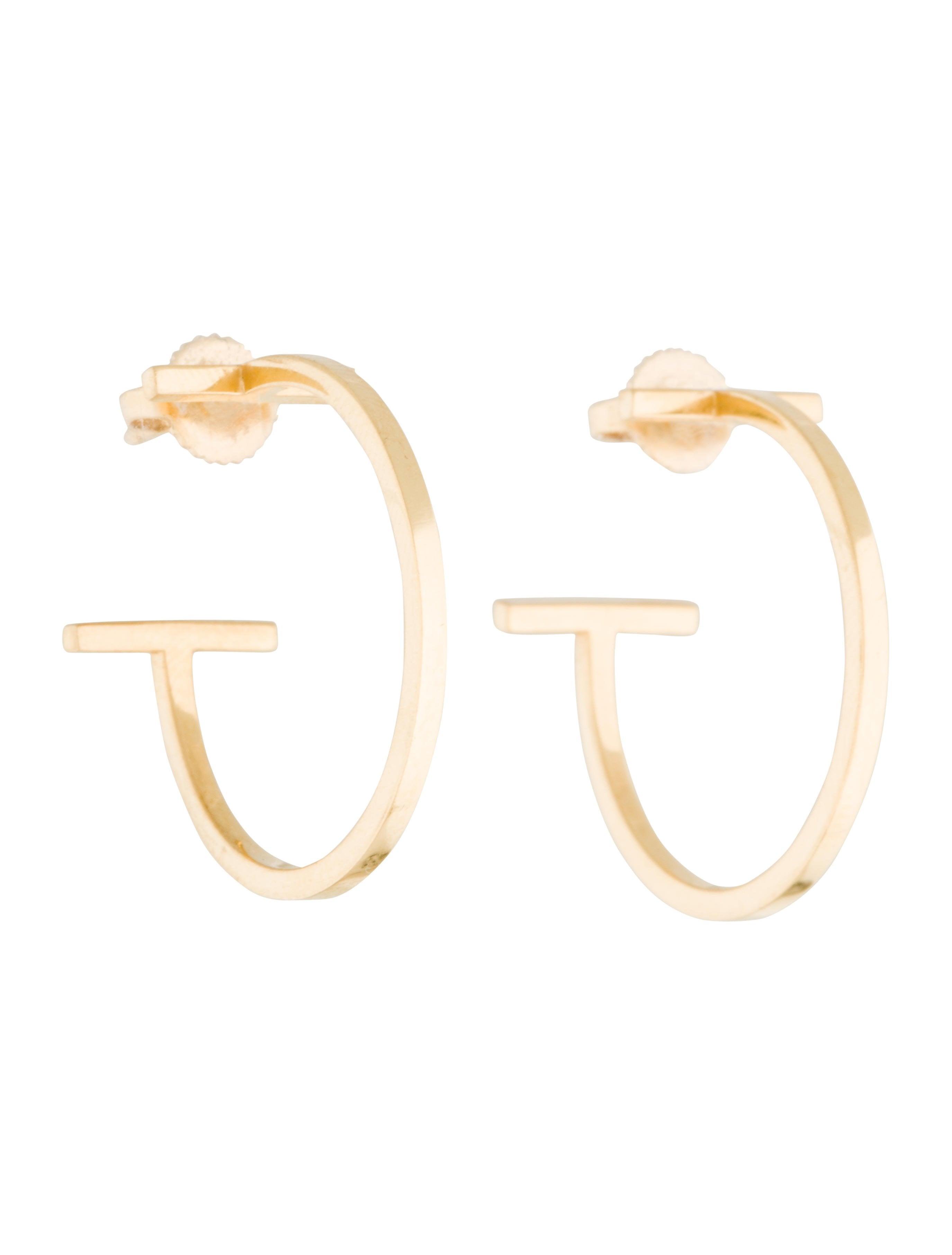 Tiffany & Co. 18K Tiffany T Medium Wire Hoop Earrings - Earrings ...
