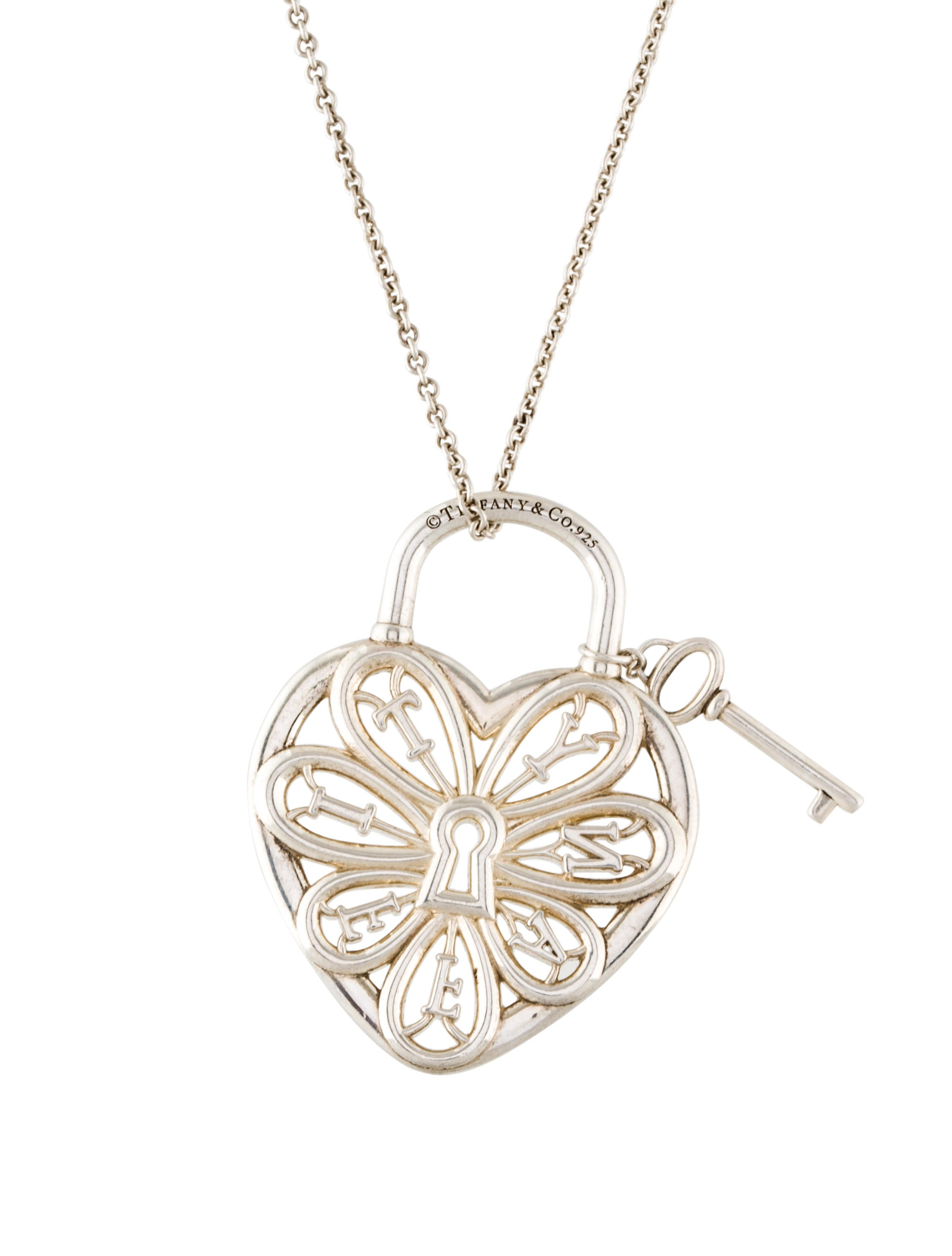 Beautiful tiffany filigree heart necklace with key jewellrys tiffany co filigree heart key pendant necklace necklaces aloadofball Choice Image
