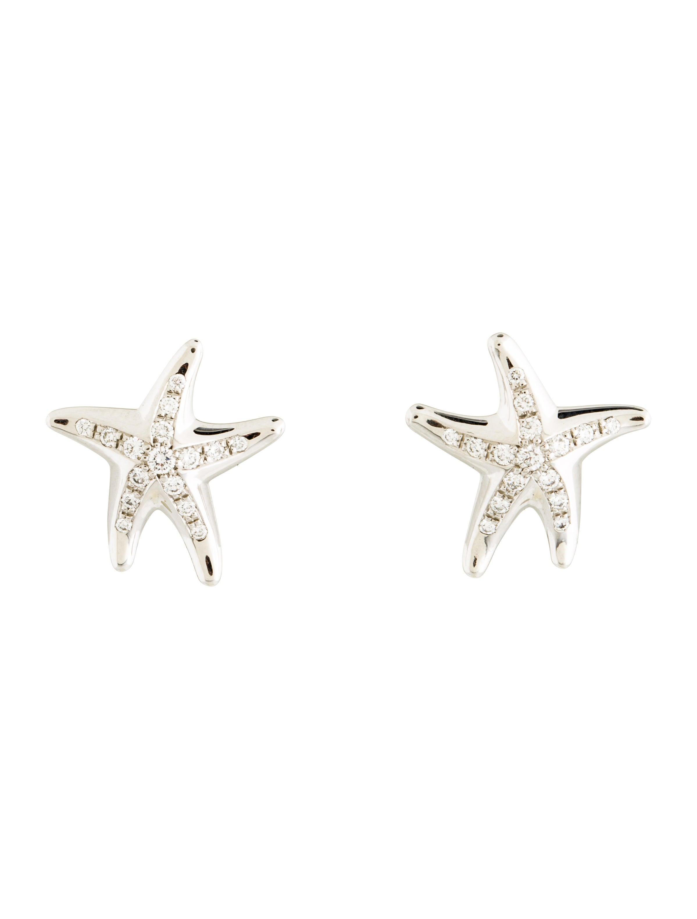 Tiffany & Co Platinum Diamond Starfish Earrings Earrings