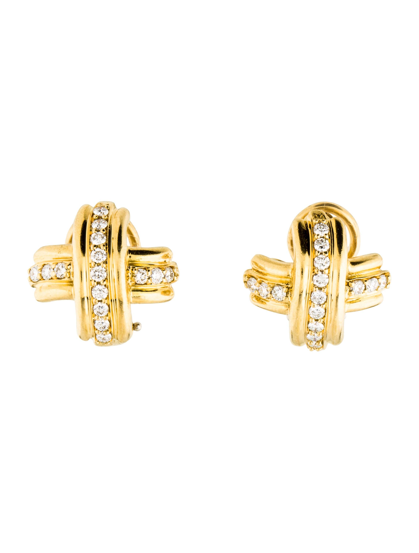 Yellow Dining Room Chairs Tiffany Amp Co Signature X Diamond Earrings Earrings
