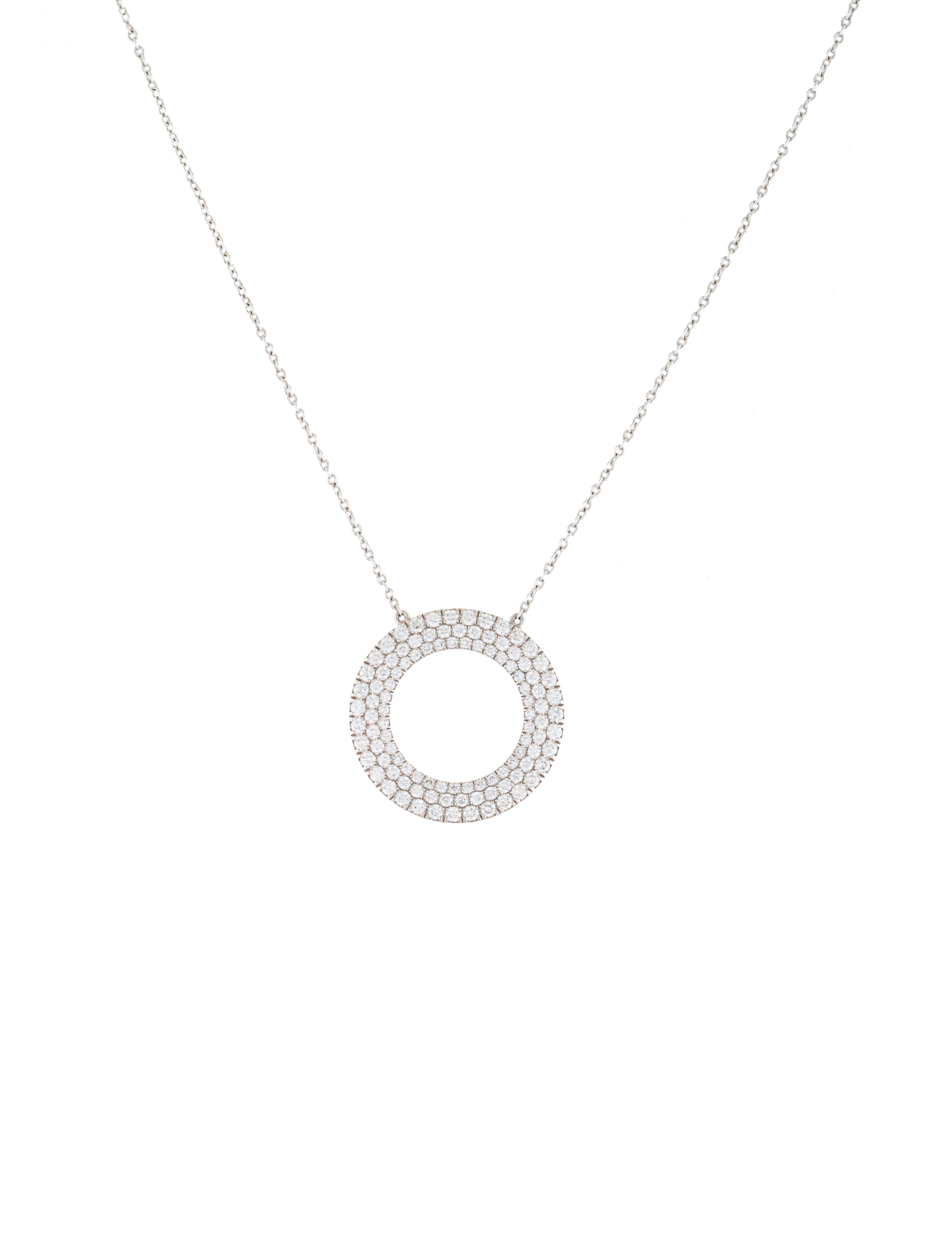 c25ec79f2 Tiffany & Co. 18K Diamond Metro Three-Row Circle Pendant Necklace -  Necklaces - TIF52328 | The RealReal