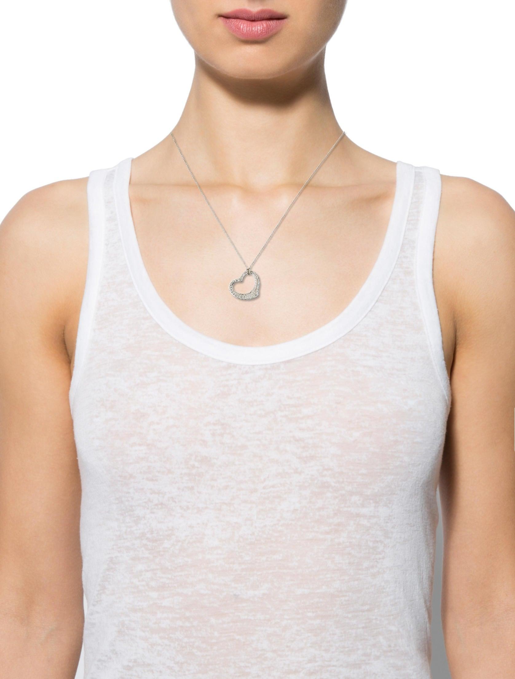 Tiffany co open heart pendant necklaces tif52532 the realreal open heart pendant aloadofball Gallery