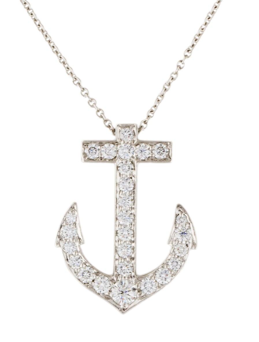 4371521d8 Tiffany & Co. Platinum Diamond Anchor Pendant Necklace - Necklaces ...